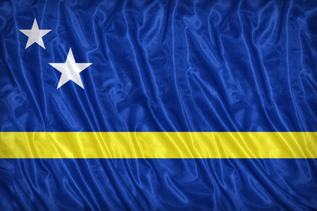 Flag of Curacaoon on the fabric texture ,vintage style photo