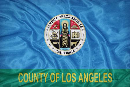 california flag: Los Angeles County , California flag on fabric texture,retro vintage style Stock Photo