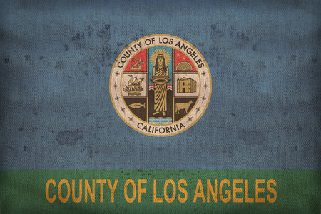 los angeles county: Los Angeles County , California flag on fabric texture,retro vintage style Stock Photo