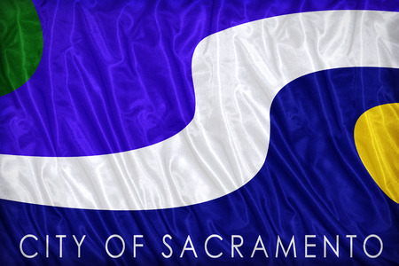 sacramento: Sacramento ,California flag pattern on the fabric texture ,vintage style Stock Photo