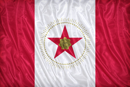 alabama flag: Birmingham ,Alabama flag pattern on the fabric texture ,vintage style Stock Photo