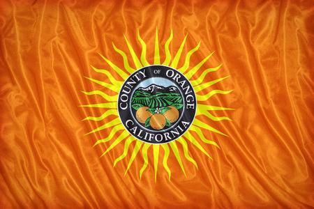 orange county: Orange County , California flag pattern on the fabric texture ,vintage style Stock Photo