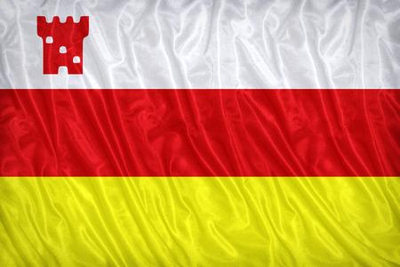 california flag: Santa Barbara ,California flag pattern on the fabric texture ,vintage style