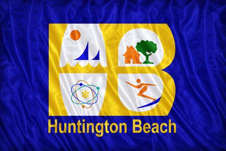 california flag: Huntington Beach ,California flag pattern on the fabric texture ,vintage style Stock Photo