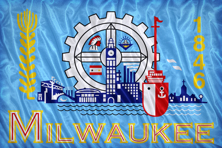 wisconsin flag: Milwaukee ,Wisconsin flag pattern on the fabric texture ,vintage style