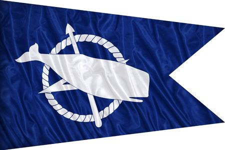 Nantucket ,Massachusetts flag pattern on the fabric texture ,vintage style