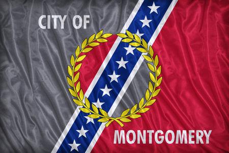 alabama flag: Montgomery ,Alabama flag pattern on the fabric texture ,vintage style
