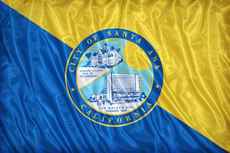 california flag: Santa Ana ,California flag pattern on the fabric texture ,vintage style