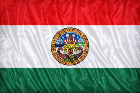 california flag: San Diego County , California flag pattern on the fabric texture ,vintage style Stock Photo