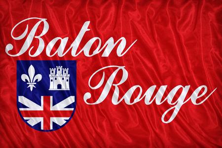 louisiana flag: Baton Rouge ,Louisiana flag pattern on the fabric texture ,vintage style