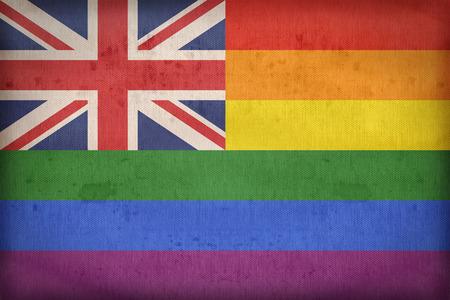 bandera gay: Reino Unido de la bandera gay en la textura de la tela, estilo retro de la vendimia
