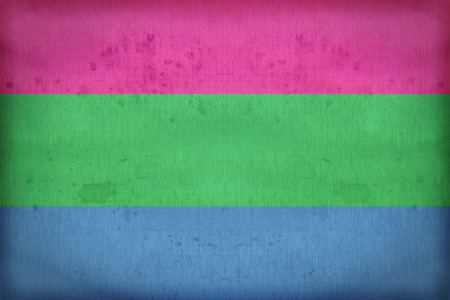 green sign: Polysexuality flag on fabric texture,retro vintage style