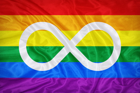 metis: Metis Rainbow flag on fabric texture,retro vintage style Stock Photo