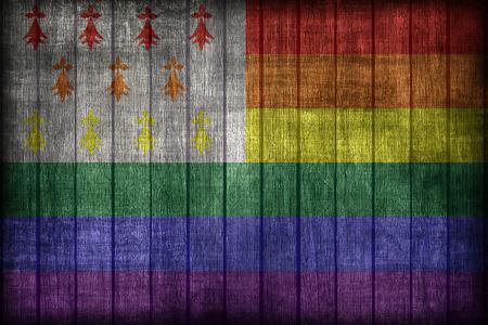 homo: Homo Atao flag pattern on wooden board texture ,retro vintage style