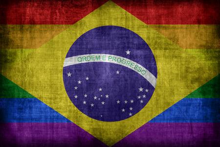 bandera gay: Brasil patr�n de la bandera Gay, �poca de estilo retro Foto de archivo