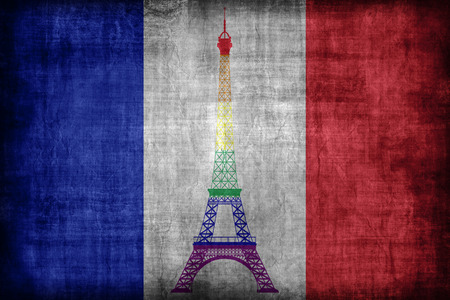 bandera gay: Francia patr�n de la bandera gay, estilo retro de la vendimia