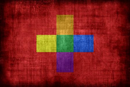 bandera gay: Suiza patrón de la bandera gay, estilo retro de la vendimia Foto de archivo