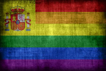 bandera gay: Espa�a modelo de la bandera gay, estilo retro de la vendimia