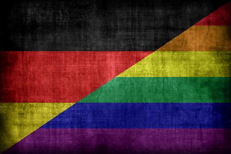 bandera gay: Alemania modelo de la bandera gay, estilo retro de la vendimia Foto de archivo