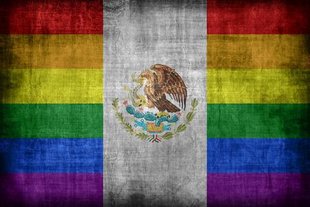 bandera gay: M�xico patr�n de la bandera gay, estilo retro de la vendimia
