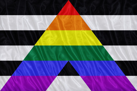 an ally: Straight Ally flag pattern on the fabric texture ,vintage style Stock Photo