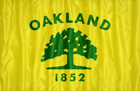 california flag: Oakland ,California flag pattern on fabric texture, vintage style