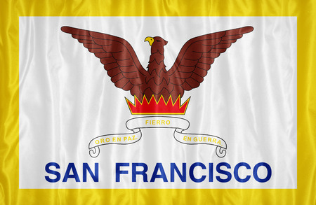 california flag: San Francisco ,California flag pattern on fabric texture, vintage style