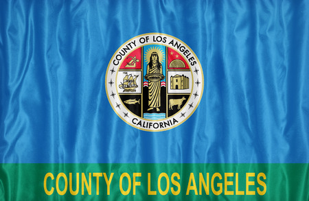 los angeles county: Los Angeles County , California flag pattern on fabric texture, vintage style Stock Photo