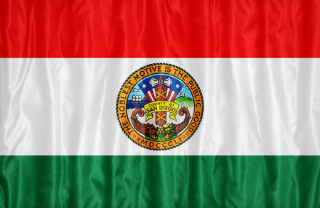 california flag: San Diego County , California flag pattern on fabric texture, vintage style