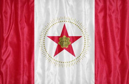 alabama flag: Birmingham ,Alabama flag pattern on fabric texture,retro vintage style