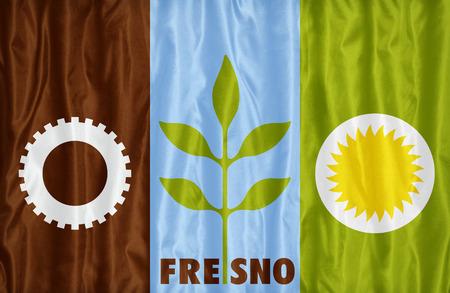 california flag: Fresno ,California flag pattern on fabric texture, vintage style