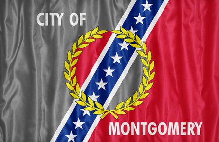 alabama flag: Montgomery ,Alabama flag pattern on fabric texture,retro vintage style