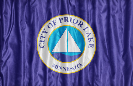 prior lake: Prior Lake ,Minnesota flag pattern on fabric texture, vintage style