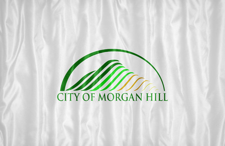 california flag: Morgan Hill ,California flag pattern on fabric texture, vintage style