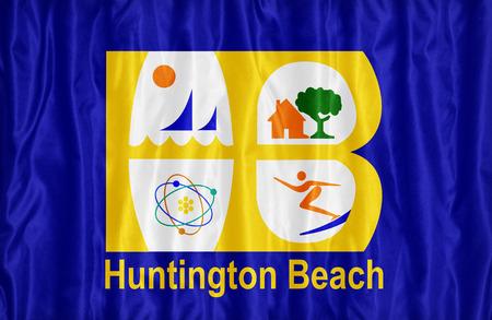 california flag: Huntington Beach ,California flag pattern on fabric texture, vintage style