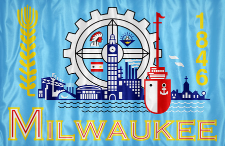 wisconsin flag: Milwaukee ,Wisconsin flag pattern on fabric texture,retro vintage style Stock Photo