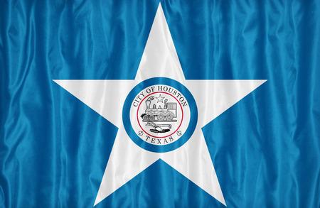 houston flag: Houston ,Texas flag pattern on fabric texture,retro vintage style