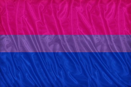 bisexual: Bisexual flag pattern on the fabric texture ,vintage style Stock Photo