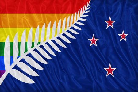 colorful: Lockwood New Zealand LGBT flag pattern on the fabric texture ,vintage style