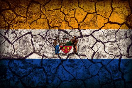 albany: Albany ,New York flag pattern on crack soil texture,retro vintage style