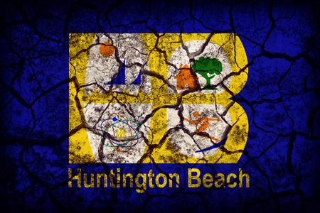 california flag: Huntington Beach,California flag pattern on crack soil texture,retro vintage style Stock Photo