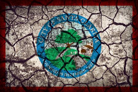 california flag: Santa Clarita ,California flag pattern on crack soil texture,retro vintage style