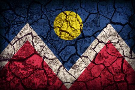 colorado flag: Denver ,Colorado flag pattern on crack soil texture,retro vintage style
