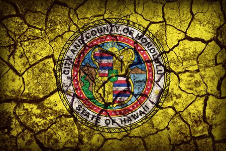 hawaii flag: Honolulu ,Hawaii flag pattern on crack soil texture,retro vintage style Stock Photo