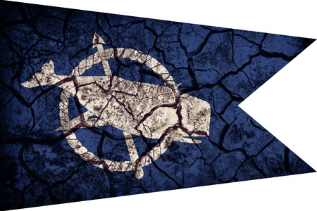 Nantucket ,Massachusetts flag pattern on crack soil texture,retro vintage style Stock Photo