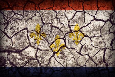 louisiana flag: New Orleans ,Louisiana flag pattern on crack soil texture,retro vintage style
