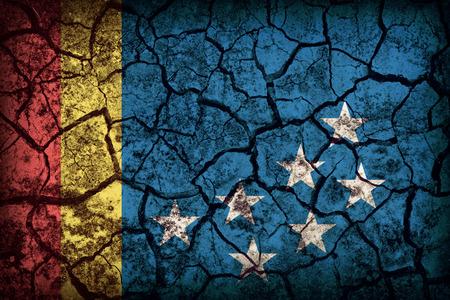 durham: Durham ,North Carolina flag pattern on crack soil texture,retro vintage style Stock Photo