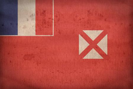 wallis: Wallis and Futuna flag pattern on fabric texture,retro vintage style