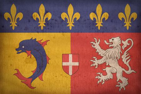 weft: Rhone-Alpes flag pattern on fabric texture,retro vintage style