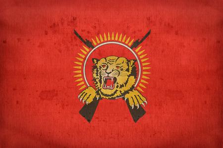 retrospective: Tamil flag pattern on fabric texture,retro vintage style Stock Photo